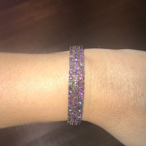 Purple Iridescent Bracelet Set in Gold Tone